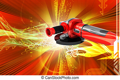 Angle grinder - Digital illustration of angle grinder in...