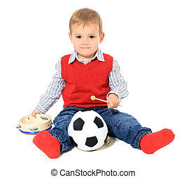 Toddler - Cute caucasian toddler having fun All isolated on...