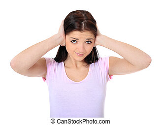 Noise - Attractive teenage girl suffering from tinnitus. All...
