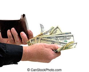 Man handing money from wallet - Man generously handing money...
