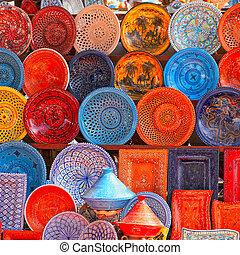 earthenware in tunisian market - earthenware in the market