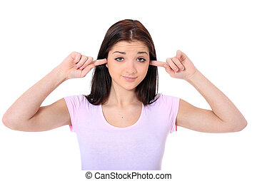 Noise - Attractive teenage girl keeping her ears shut All on...