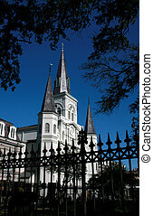 Fence in front of St Louis Cathedral in New Orleans - Over a...