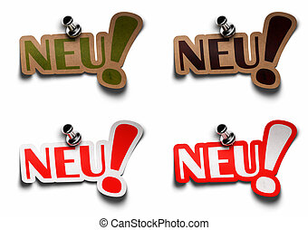 Neu word on stickers with metal pushpins in differents textures, red brown and green