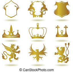 セット, heraldic, 金, 要素, ベクトル