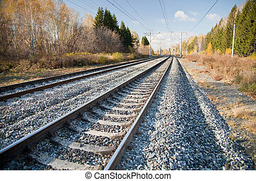 Railroad tracks - Railway tracks stretching into the...