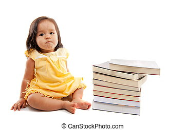 Pre-school  - Cute asian child girl with books .