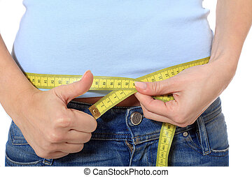 Diet - Female person measuring her hip All on white...