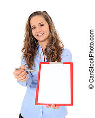 Sign here - Portrait of an attractive young girl holding a...