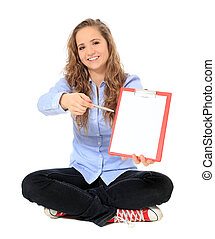 Sign here - Attractive young girl pointing with pen on...