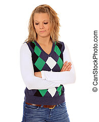 Sad woman - Stubborn young woman All on white background