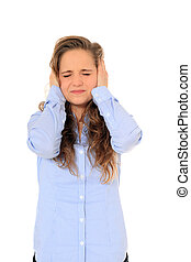 Headache - Attractive young girl suffering from tinnitus All...