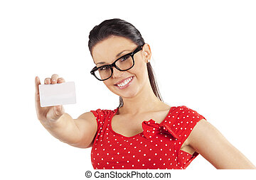 woman with glasses showing card - happy young woman in red...