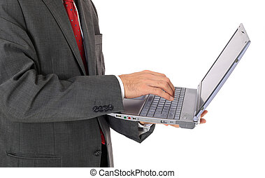 Businessman using notebook