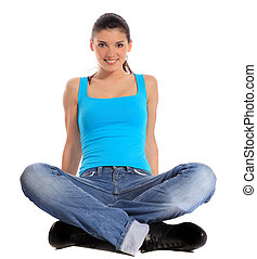 Attractive woman sitting - Attractive young woman sitting on...