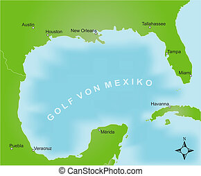 Map - Gulf of Mexico - Stylized map of the area of the gulf...
