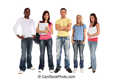 Students - A group of five young people All on white...