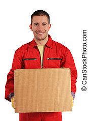 Attractive man - Motivated worker of an moving company in...