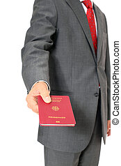 German passport - Businessman showing his german passport...