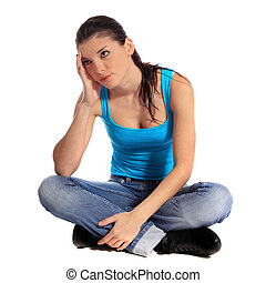 Frustrated young woman. All on white background.
