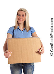 Woman holding moving box - Attractive young woman carrying a...