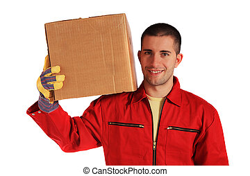 Carrying a moving box - Motivated worker of an moving...