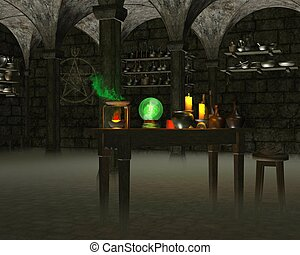 The Alchemist's Laboratory - Alchemist's laboratory in a...