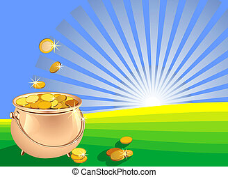 vector shiny metal pot filled with gold coins on the field against a background of sunrise