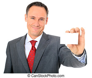 Business card - Attractive businessman holding business card...