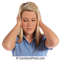 Noise - An attractive young woman suffering from tinnitus....