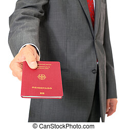 Passport - Businessman showing his german passport All on...