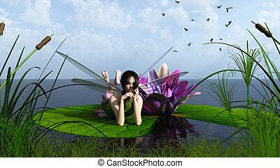 Waterlily Fairy on the Lake - Pink waterlily fairy lying on...