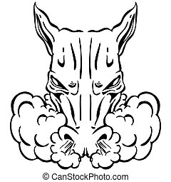 Angry Horse Head - An image of a angry horse head.