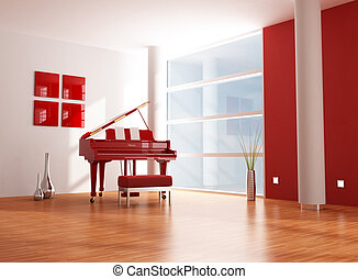 red and white  music room