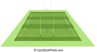 Rugby field - high definition of a rugby field - rendering