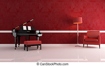 luxury music room - grand piano in a red living room with...