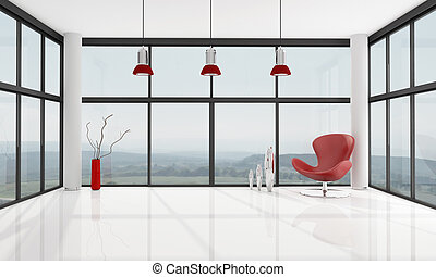 empty minimalist living room - red armchair in a glass house...