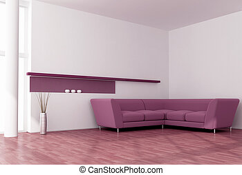 modern purple interior - minimalist purple and white living...