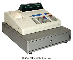 Vintage cash register - Cash register on a white background....