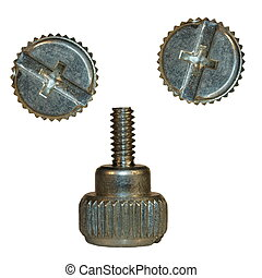 Computer Screw heads, bolt isolated