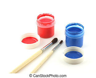 Water-colour and paintbrushes over white