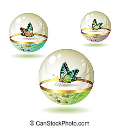 Butterfly collection isolated in glass globe on white...