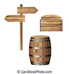 Directional sign and barrel - Wooden directional sign and...