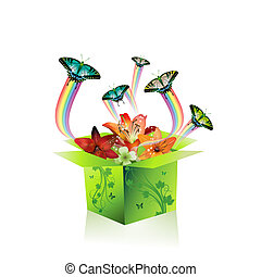 Springtime box with butterflies and flowers