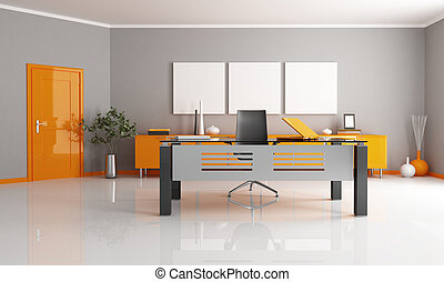 contemporary office - gray and orange office space -...
