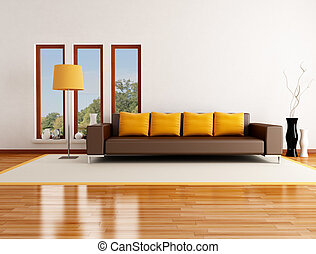 modern living room in a country house - rendering - the...