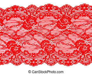 Red lace with pattern in the manner of flower on white...