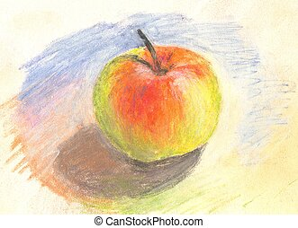 Hand painted pastel apple - Hand painted pastel colorful...