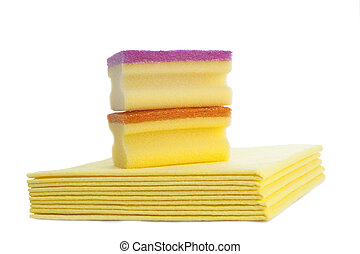 Cleaning cloths and sponges against white background Studio...