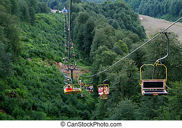 Ropeway in mountains near Krasnaya Polyana, Sochi, Russia